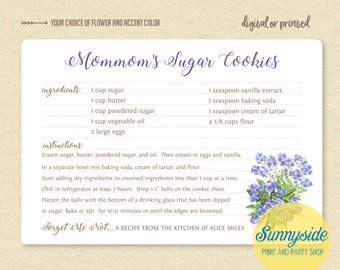 Custom recipe card // forget me not family recipe gift // funeral favor // memorial favor // sentimental gift // personalized recipe
