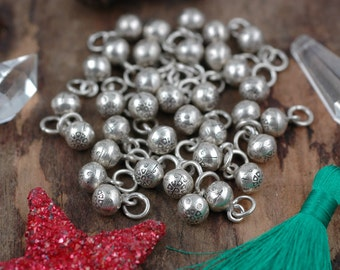 Small Silver Bells: Ornate Handmade .925 Sterling Silver Karen Thai Hill Tribe, 8mm, Holiday Christmas Decor, Jewelry Making Supply, 1 pc.