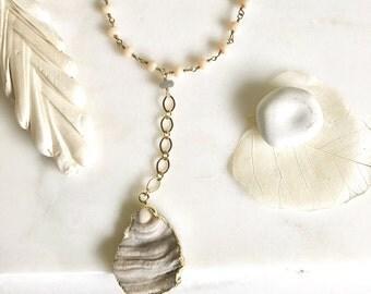 Long Druzy Lariat Necklace. Long Druzy Y Necklace. Long Gold Necklace. Boho Necklace. Jewelry Gift.