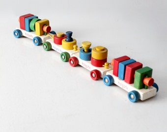 mid-century Holgate train, vintage pull train toy blocks