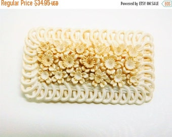 ON SALE Vintage Celluloid Brooch Wedding Cake White Victorian Floral
