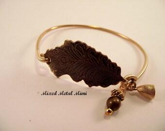 NEW Brass Bangle Bracelet / Brass Wire Bracelet/ Small Bangle  Bracelet/ Brass Bangle/ bracelet Feather Color Colorful Blue Teal  Blue B-005