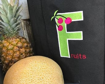 Market Bags  -  Reusable Grocery Totes -  Eco Friendly Bag - Embroidered Fruit Sack - Large Lightweight bag