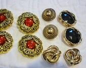 Gold ornate Button Lot,10 Beautiful buttons