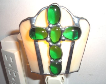 LT Stained Glass, green Cross, night light, lamp, light beige, tan streaked, opal glass, my hand made in the USA, accent light, home decor,