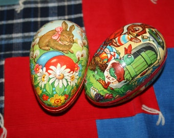 Two 2 Vintage Western Germany Paper Mache Easter Eggs Bunny Each Two Pieces