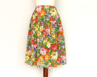 Vintage Floral Skirt Multicolor / Bright Vivid Colors / Full Skirt / Elastic Waist / Spring Summer / Midi / small medium
