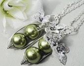 Black Friday Cyber Monday Peas in a pod, Set Of Two  Peas In A Pod Necklaces, personalized necklace, best friend necklace