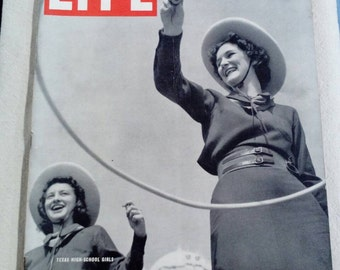 Collectible Life Magazine March 7, 1938 Texas High School Girl WW2 Era Cover Very Good Condition Great Ads
