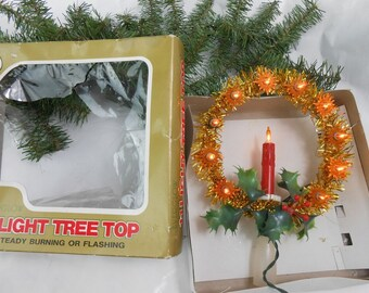 Vintage lighted tree top gold and red with holly tree topper 11 amber lights gold and red and green EVERGLOW Christmas tree topper in box