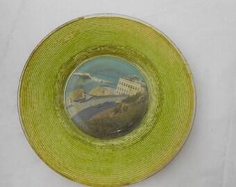 Antique Cliff House San Francisco souvenir plate 1940s cars lime green