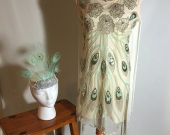 Gorgeous Beige Aqua Gold Peacok Roses Fringe Flapper Costume w Peaock Headpiece