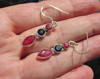 Sale, Delicate Beautiful Ruby and Sapphire Earrings, 925 Silver