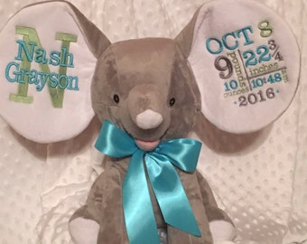 Baby Birth Announcement/Personalized/ stuffed animal/toy/baby gift/ gray elephant/ birth announcement/ Nursery woodland/baby shower gift
