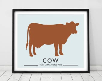 COW PRINT, Farm animal decor, Nursery animal prints, Country style decor, Animal art by Little grippers store