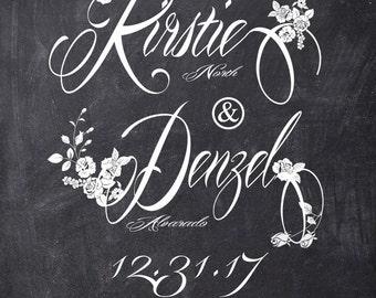 Vintage Floral Chalkboard Roses -  Boho Wedding Invitations - Outdoor wedding - Custom Listing for Kirstie North