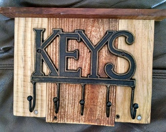 Never Lose Your Keys Again...Rustic Key Holder...Handcrafted...Reclaimed Wood Panel...Key Hooks...Primitive...Great Gift Idea
