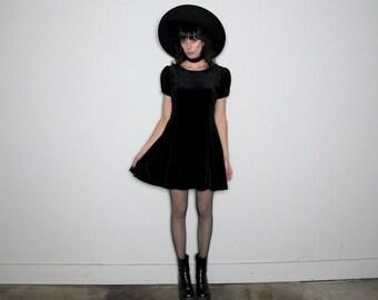 BLACK VELVET 80s Mini DRESS Short Sleeve Kinderwhore Goth Rose Vintage Size M