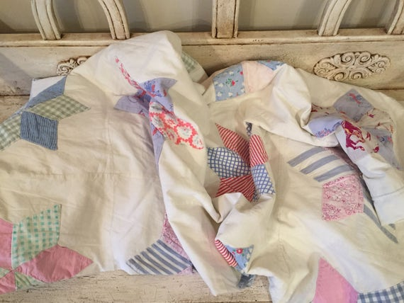 Shabby Farmhouse Vintage Quilt - Bright Pastels - Soft, Worn Tattered Quilt - Twin Size