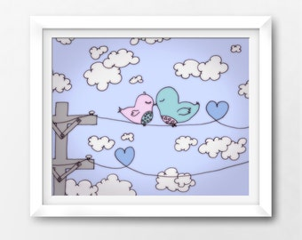 Valentines Printable, Lovebirds Art Print, Instant Download Illustration by Sleepy Cloud Studios