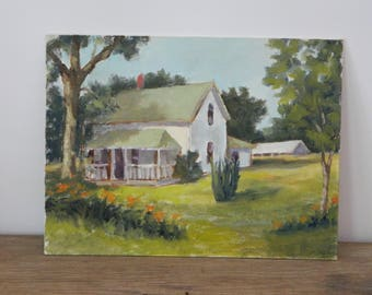 Vintage Farmhouse Oil Painting on Canvas.