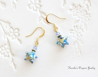 Origami Jewelry - Japanese Origami Star Earrings with Plated 14K Gold No.03410
