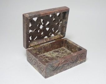 Vintage Hand Carved Ornate Brown Soapstone Hinged Lid Trinket Box, Brown Carved Soapstone Trinket Box, Hand Carved Soapstone Jewelry Box