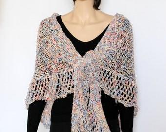 knitted colorful  Wrap  Crocheted shawl  wedding accessory Crochet shawl