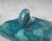 Turquoise Ring Sterling Turquoise Ring Sterling Silver Ring Turquoise Jewelry by Philip Troyer Thunder Sky Jewelry Ring Size 8.5