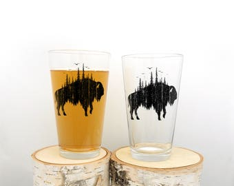 Buffalo and Forest Pint Glasses - Kitchen Glasses - Screen Printed Pint Glasses