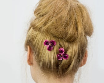 Pink Flower Hair Clips, Pink Flower Bobby Pins, Pink Flower Hair Grips, Pink Flower Hair Pins, Pink Flower Kirby Grips, Pink Pansy Flower