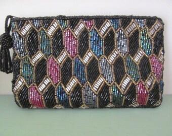 Vintage Bechamel Beaded Purse Evening Bag Multi Color