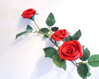 3rd Anniversary Gift -Red Leather roses - one Long Stem and 3 red roses- leather flower- Wedding- Sexy Flower Valentines Day