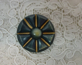 Vintage Celluloid Button, Green with Gold Paint Highlights, 1 & 5/16""