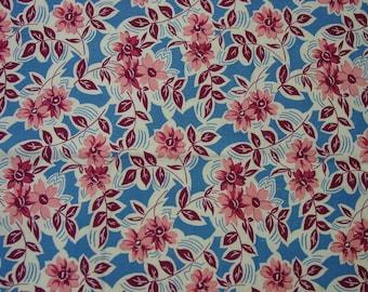 "Vintage Feedsack Fabric, Huge Full Sack, 36 x 43 1/2"" Bright Floral on Blue Background"