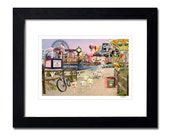 Framed Matted Ocean City Boardwalk Collage Photography Art, New Jersey Beach,Comes Ready to Hang, Wall Decor
