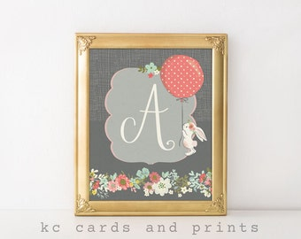 Nursery Bunny Art, Nursery Rabbit Art, Letter A, New Baby Gift, Kids Room Decor, Printable, Baby Girl, Nursery Wall Art, Digital Print,
