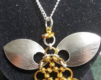 Chain maille angel pendant necklace in gold and silver