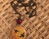 Reserved for Heather B.: Buzzzzz Goes the Bee Long Locket Necklace
