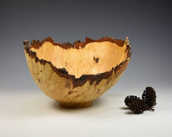 Natural edge burr field maple decorative bowl, woodturning, gift