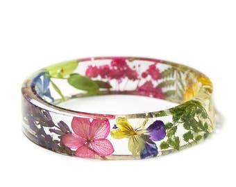 Mixed Flower Bracelet - Jewelry with Real Flowers- Dried Flowers- Purple Flower Bracelet - flower jewelry- Fern Jeweley