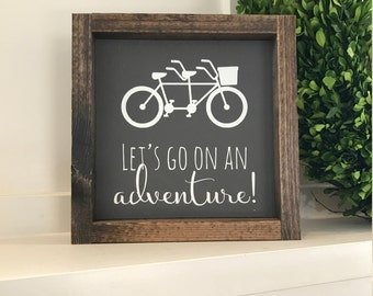 "Ready to ship * Let's go on an adventure/ Bicycle Wood Sign / Painted Wood Sign 8.5"" x 8.5"""