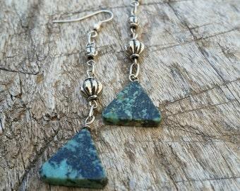 Green Stone Triangle Earrings by AfterWork