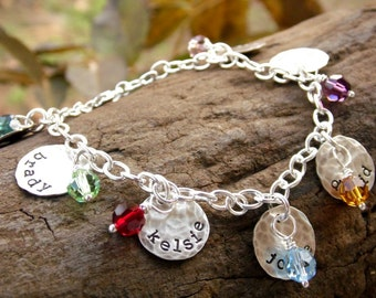 Grandmother Bracelet with up to Twelve Kids Names and Birthstones Sterling Silver Hand Stamped Discs