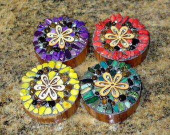 colorful flower magnets mosaic flower strong magnets rustic wood rounds refrigerator decoration set of 4 OOAK
