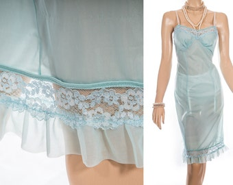 Seductive 'Dorothy Perkins' flimsy sheer kingfisher blue nylon and delicate floral lace detail 1960's vintage full slip petticoat - 3867