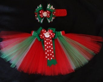 Christmas Santa tutu set, custom made in your choice of size Newborn-4t