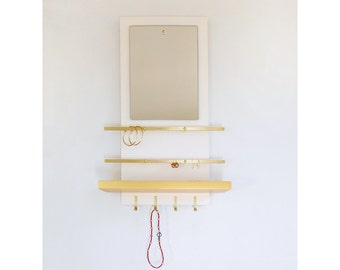 JEWELRY ORGANIZER: wall mount modern minimal gold and white, necklace earrings rings organization, for her get organized