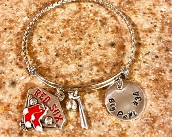 Bangle Bracelet, Red Sox bangle bracelet, Big Papi Hand stamped Bracelet, Handstamped Bangle Bracelet