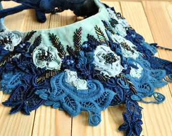 OOak, Hand embroidered , textile fabric, elegant, floral, summer, bohemian, flowers, romantic, statement bohemian collar - The blue rose